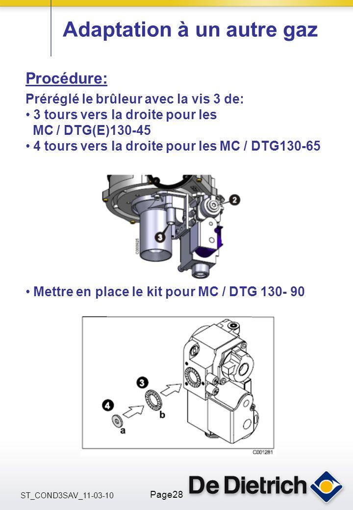 ST_COND3SAV_11-03-10 Page28 Adaptation à un autre gaz Procédure: Préréglé le brûleur avec la vis 3 de: 3 tours vers la droite pour les MC / DTG(E)130-