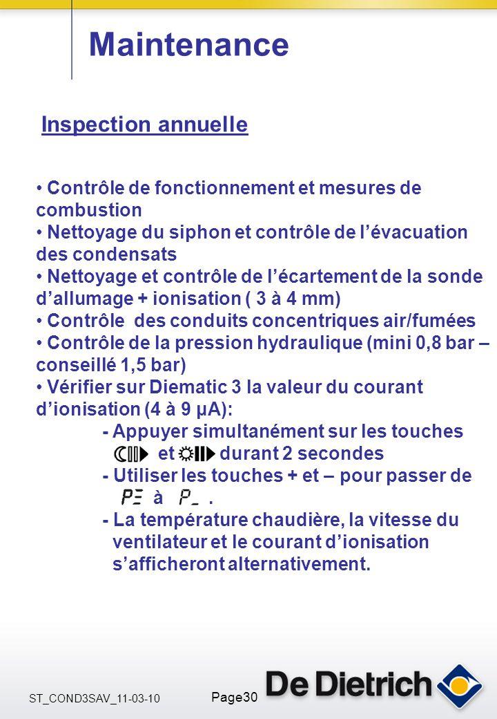 ST_COND3SAV_11-03-10 Page30 Maintenance Inspection annuelle Contrôle de fonctionnement et mesures de combustion Nettoyage du siphon et contrôle de lév