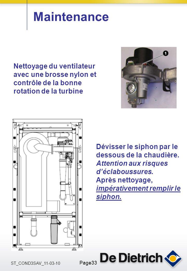 ST_COND3SAV_11-03-10 Page33 Maintenance Nettoyage du ventilateur avec une brosse nylon et contrôle de la bonne rotation de la turbine Dévisser le siph