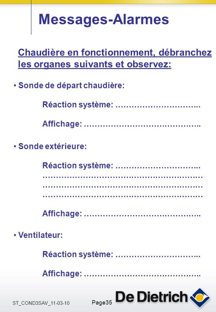 ST_COND3SAV_11-03-10 Page35 Sonde extérieure: Réaction système: ………………………….. …………………………………………………… Affichage: …………………………………….. Messages-Alarmes Sonde d