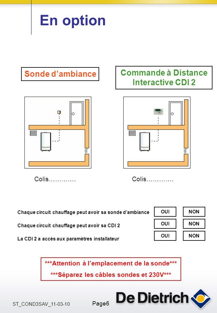 ST_COND3SAV_11-03-10 Page6 En option Sonde dambiance Commande à Distance Interactive CDI 2 Colis…………. Chaque circuit chauffage peut avoir sa sonde dam