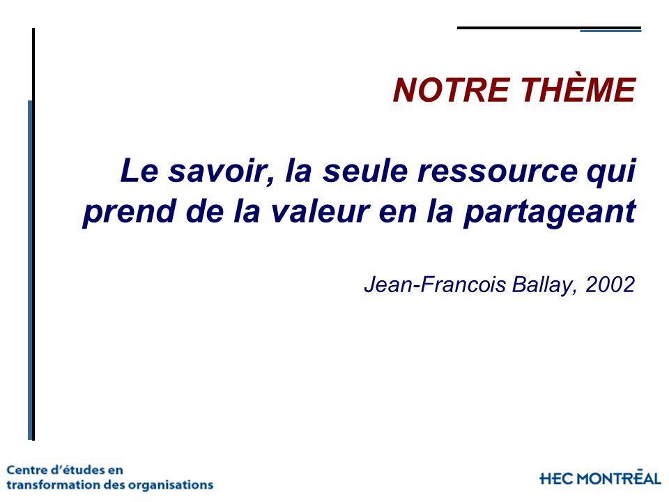 NOTRE THÈME Le savoir, la seule ressource qui prend de la valeur en la partageant Jean-Francois Ballay, 2002
