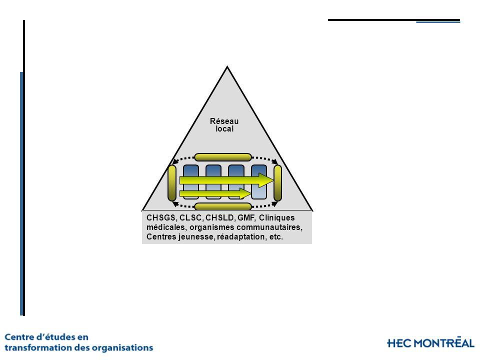 CHSGS, CLSC, CHSLD, GMF, Cliniques médicales, organismes communautaires, Centres jeunesse, réadaptation, etc. Réseau local