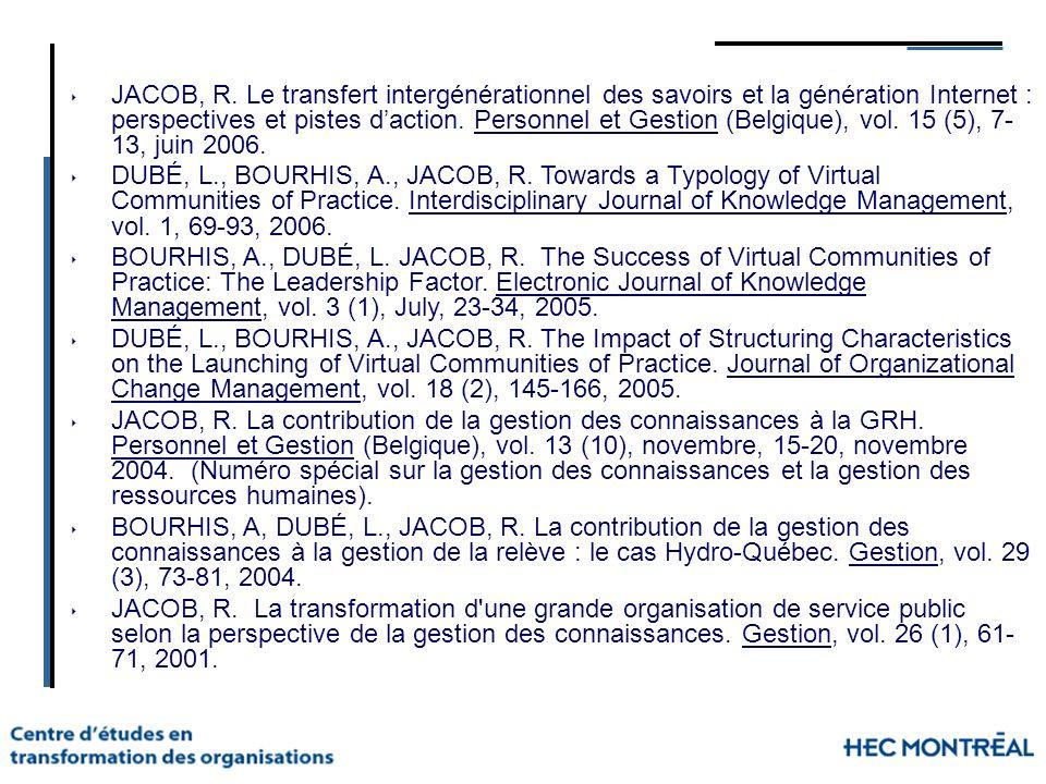 JACOB, R. Le transfert intergénérationnel des savoirs et la génération Internet : perspectives et pistes daction. Personnel et Gestion (Belgique), vol
