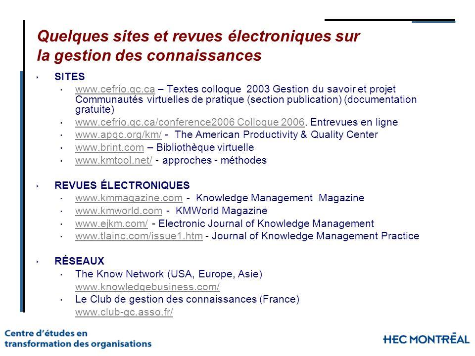 Quelques sites et revues électroniques sur la gestion des connaissances SITES www.cefrio.qc.ca – Textes colloque 2003 Gestion du savoir et projet Comm