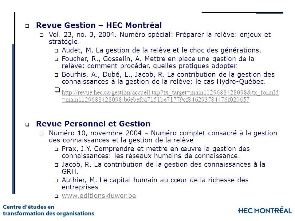 Revue Gestion – HEC Montréal Vol. 23, no. 3, 2004. Numéro spécial: Préparer la relève: enjeux et stratégie. Audet, M. La gestion de la relève et le ch