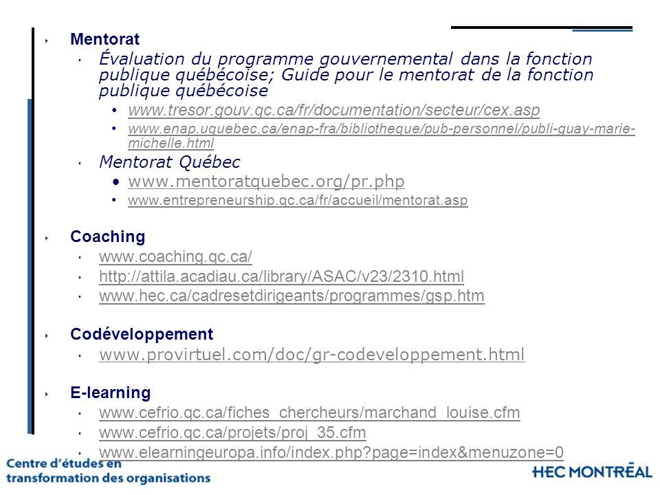 Mentorat Évaluation du programme gouvernemental dans la fonction publique québécoise; Guide pour le mentorat de la fonction publique québécoise www.tr