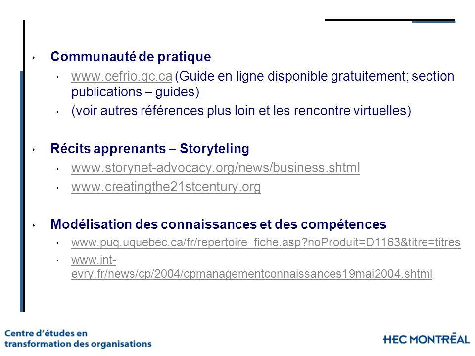 Communauté de pratique www.cefrio.qc.ca (Guide en ligne disponible gratuitement; section publications – guides) www.cefrio.qc.ca (voir autres référenc