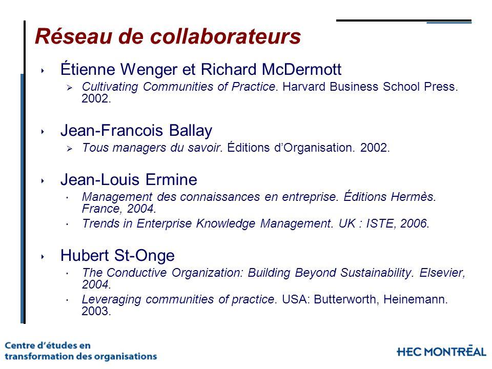 Réseau de collaborateurs Étienne Wenger et Richard McDermott Cultivating Communities of Practice. Harvard Business School Press. 2002. Jean-Francois B