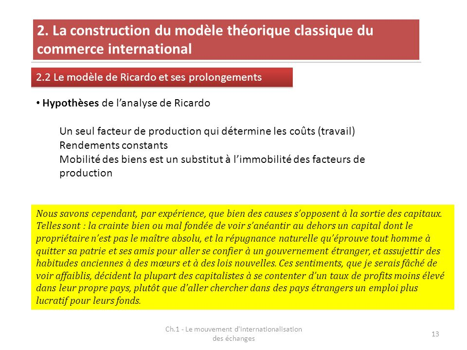 Ch.1 - Le mouvement d'internationalisation des échanges 13 2. La construction du modèle théorique classique du commerce international 2.2 Le modèle de