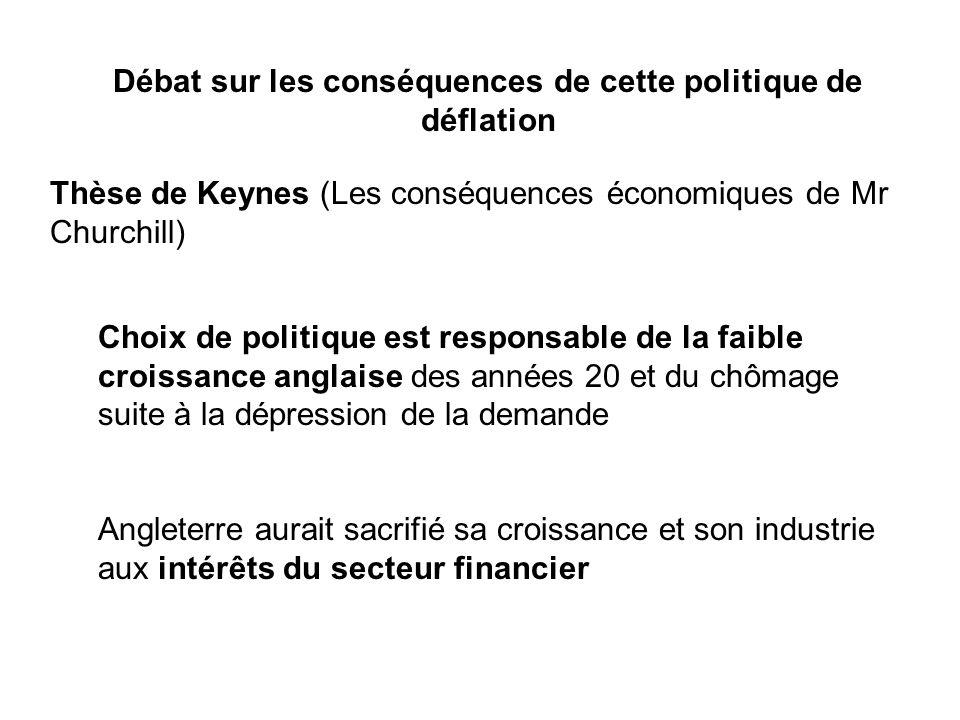 Débat sur les conséquences de cette politique de déflation Thèse de Keynes (Les conséquences économiques de Mr Churchill) Choix de politique est respo