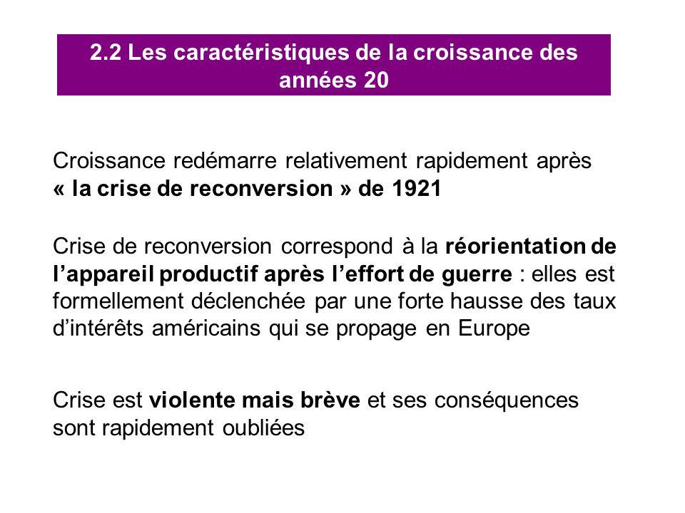 2.2 Les caractéristiques de la croissance des années 20 Croissance redémarre relativement rapidement après « la crise de reconversion » de 1921 Crise