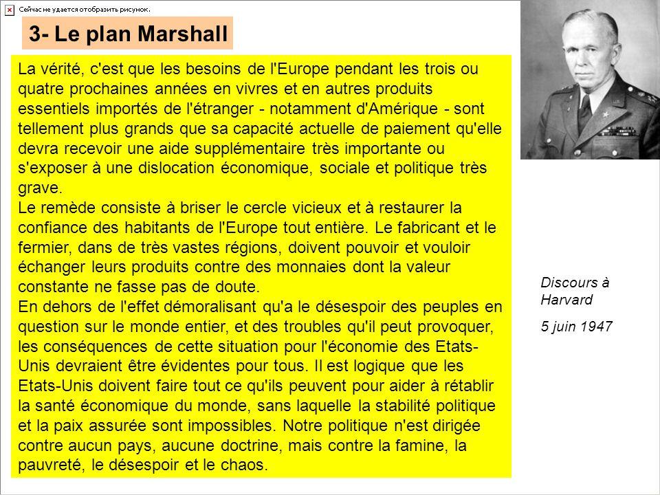 3- Le plan Marshall La vérité, c'est que les besoins de l'Europe pendant les trois ou quatre prochaines années en vivres et en autres produits essenti