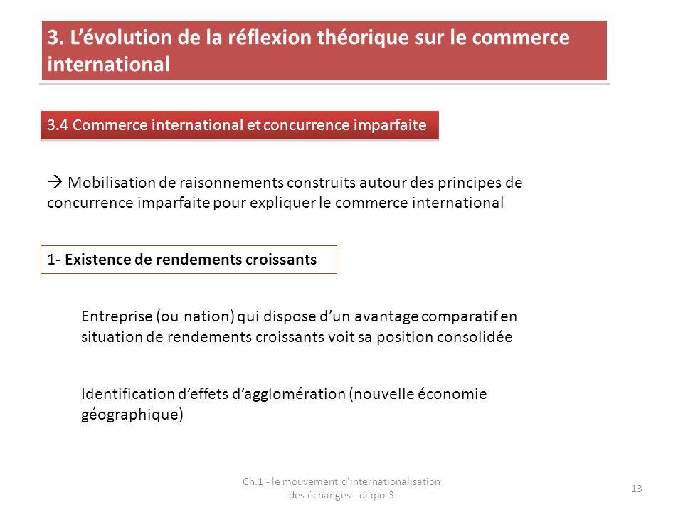 Ch.1 - le mouvement d'internationalisation des échanges - diapo 3 13 3. Lévolution de la réflexion théorique sur le commerce international 3.4 Commerc
