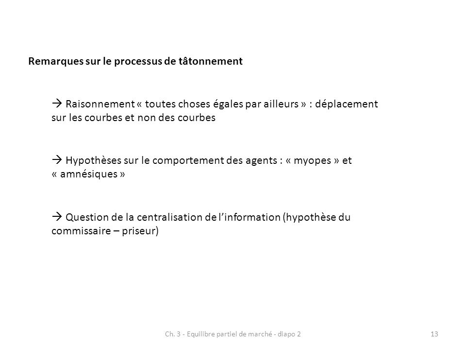 Ch. 3 - Equilibre partiel de marché - diapo 213 Remarques sur le processus de tâtonnement Raisonnement « toutes choses égales par ailleurs » : déplace