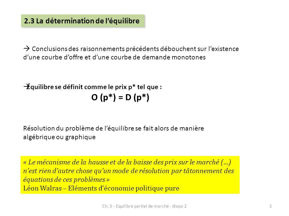 Équilibre se définit comme le prix p* tel que : O (p*) = D (p*) Conclusions des raisonnements précédents débouchent sur lexistence dune courbe doffre