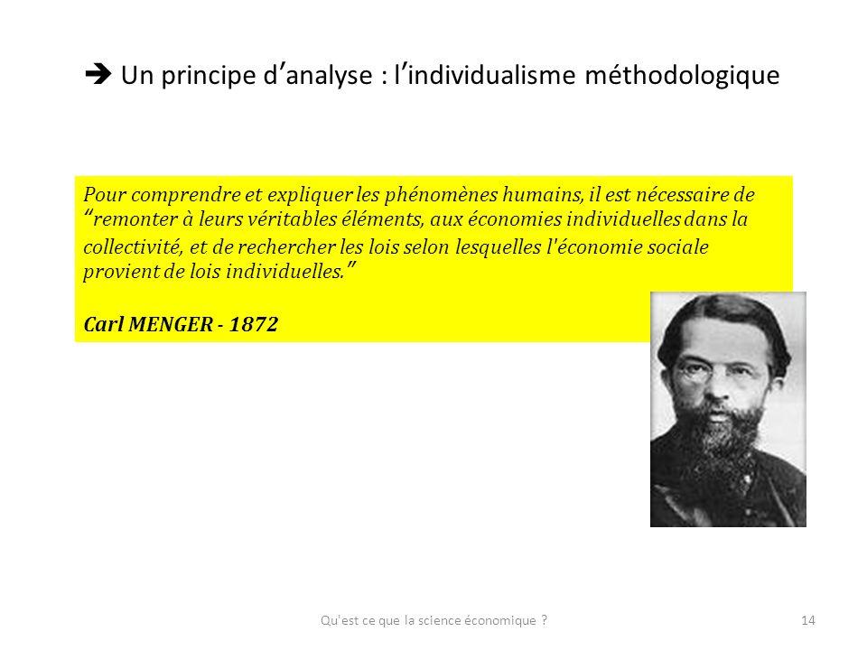 Qu'est ce que la science économique ?14 Un principe danalyse : lindividualisme méthodologique Pour comprendre et expliquer les phénomènes humains, il