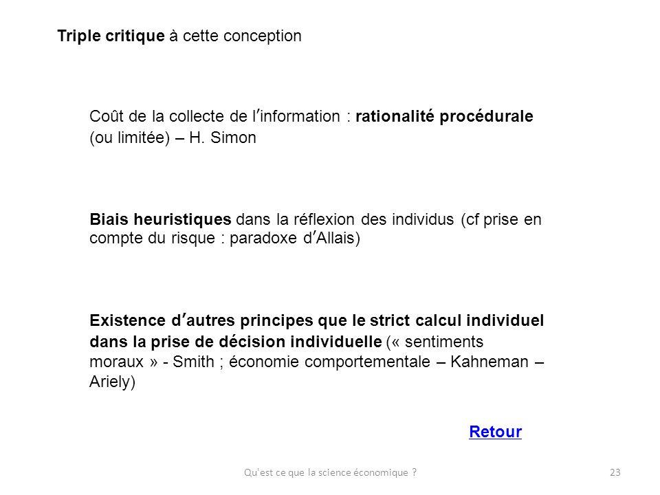 Qu'est ce que la science économique ?23 Triple critique à cette conception Coût de la collecte de linformation : rationalité procédurale (ou limitée)
