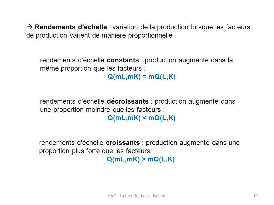 Ch.2 - La théorie du producteur10 Rendements d'échelle : variation de la production lorsque les facteurs de production varient de manière proportionne