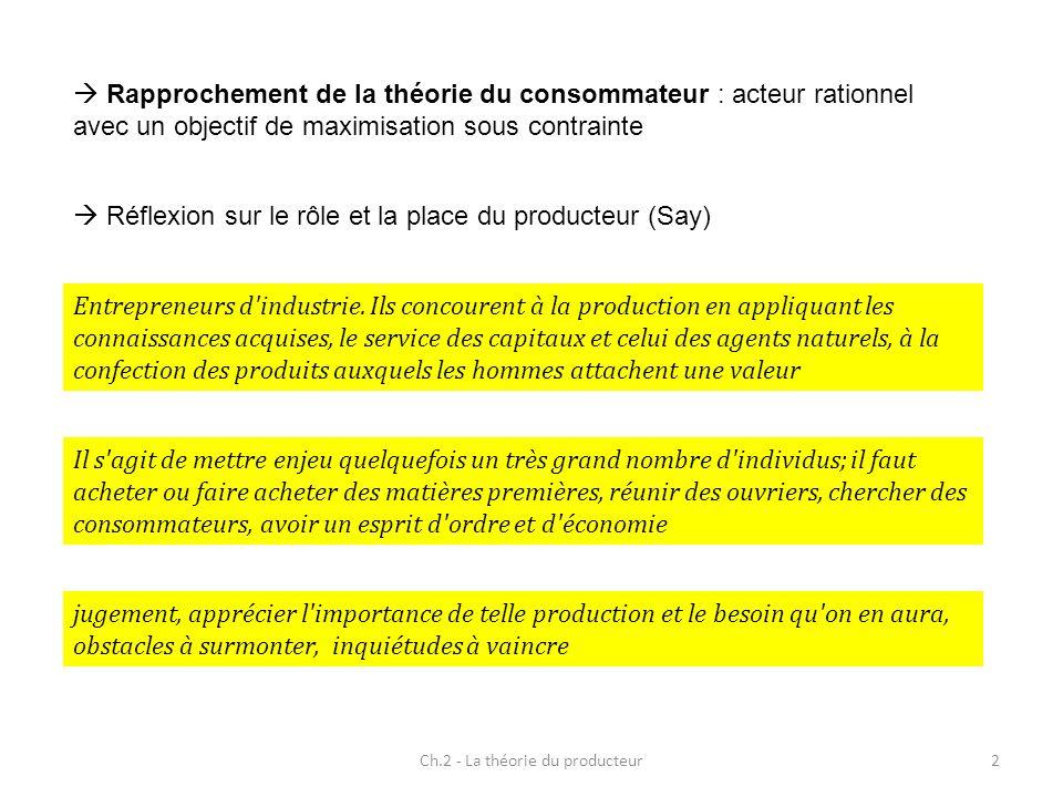 Rapprochement de la théorie du consommateur : acteur rationnel avec un objectif de maximisation sous contrainte 2Ch.2 - La théorie du producteur Réfle