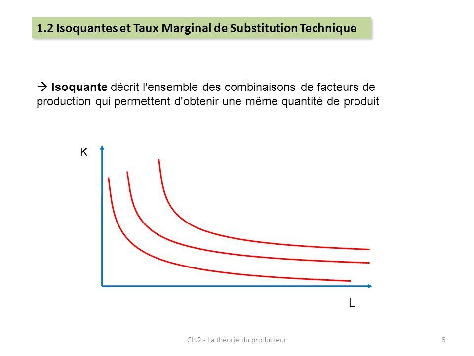Ch.2 - La théorie du producteur5 Isoquante décrit l'ensemble des combinaisons de facteurs de production qui permettent d'obtenir une même quantité de