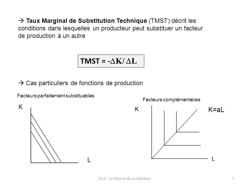 Ch.2 - La théorie du producteur7 Taux Marginal de Substitution Technique (TMST) décrit les conditions dans lesquelles un producteur peut substituer un