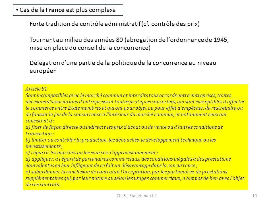 Ch. 6 - Etat et marché10 Cas de la France est plus complexe Forte tradition de contrôle administratif (cf. contrôle des prix) Tournant au milieu des a