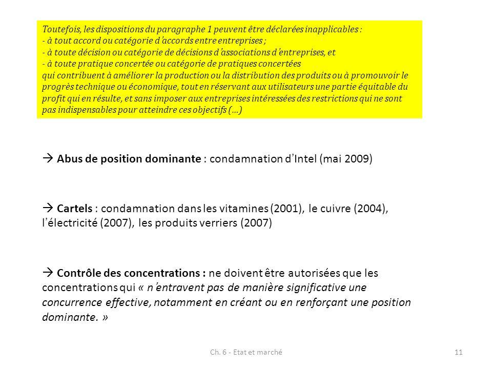 Ch. 6 - Etat et marché11 Toutefois, les dispositions du paragraphe 1 peuvent être déclarées inapplicables : - à tout accord ou catégorie daccords entr