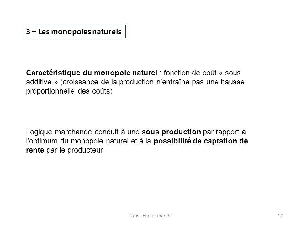 3 – Les monopoles naturels Caractéristique du monopole naturel : fonction de coût « sous additive » (croissance de la production nentraîne pas une hau