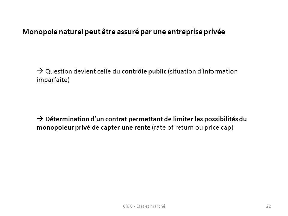 Monopole naturel peut être assuré par une entreprise privée Question devient celle du contrôle public (situation dinformation imparfaite) Déterminatio