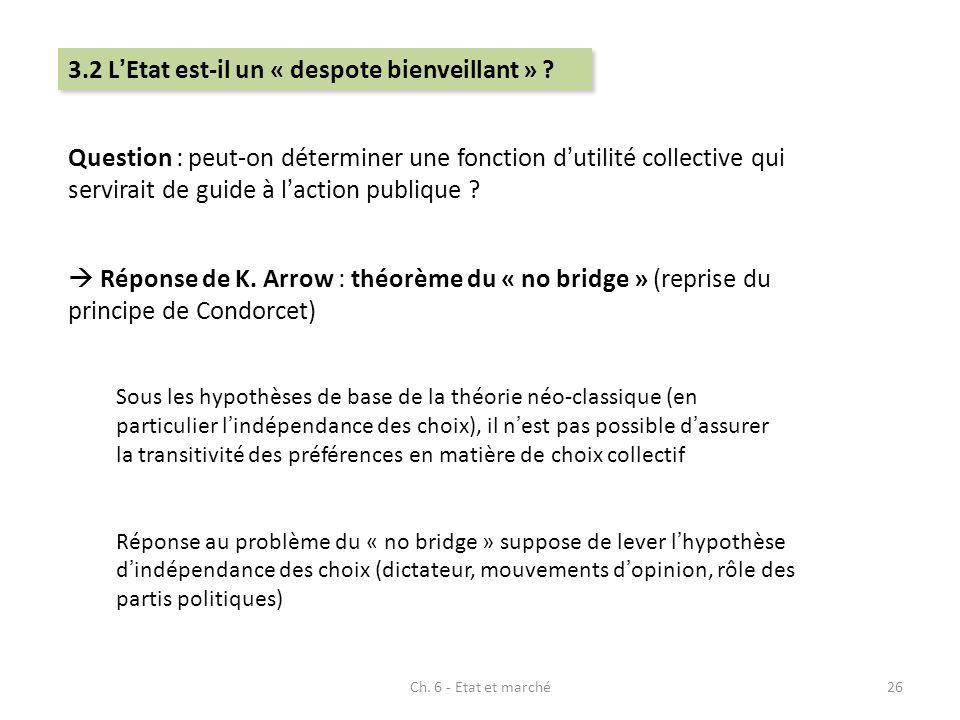 Question : peut-on déterminer une fonction dutilité collective qui servirait de guide à laction publique ? Réponse de K. Arrow : théorème du « no brid