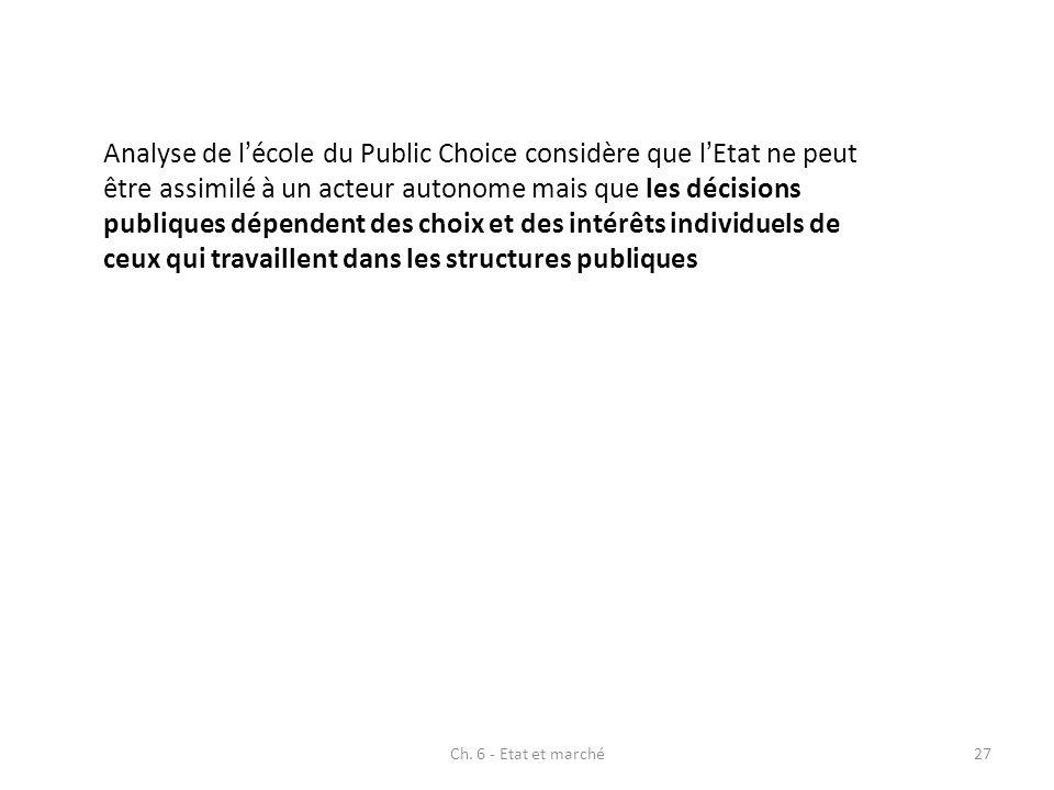 Analyse de lécole du Public Choice considère que lEtat ne peut être assimilé à un acteur autonome mais que les décisions publiques dépendent des choix