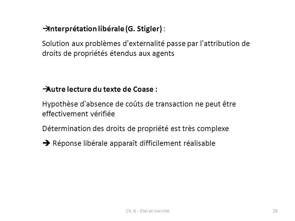 Interprétation libérale (G. Stigler) : Solution aux problèmes dexternalité passe par lattribution de droits de propriétés étendus aux agents Autre lec