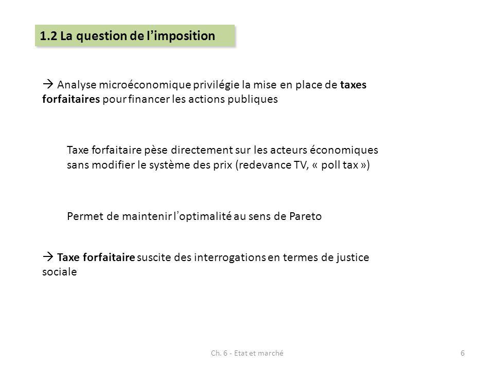 Ch. 6 - Etat et marché6 Analyse microéconomique privilégie la mise en place de taxes forfaitaires pour financer les actions publiques Taxe forfaitaire