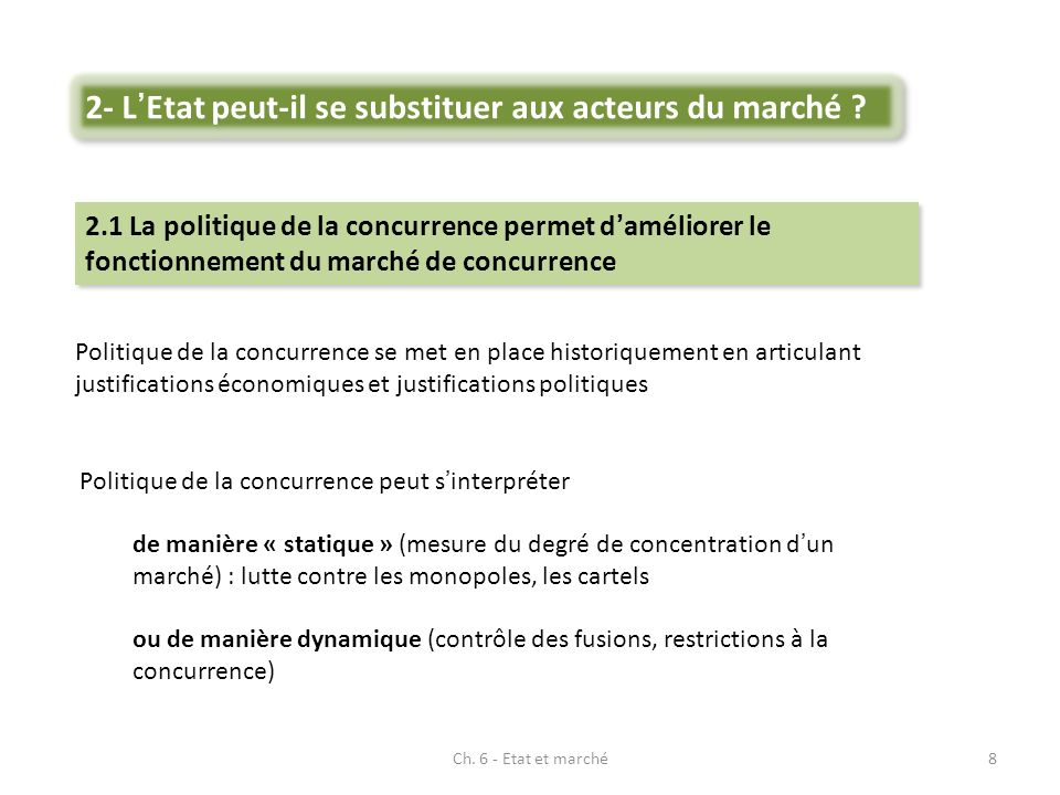 Ch. 6 - Etat et marché8 Politique de la concurrence se met en place historiquement en articulant justifications économiques et justifications politiqu