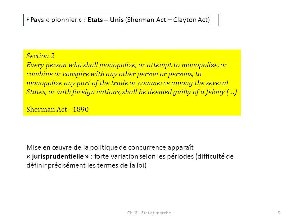 Pays « pionnier » : Etats – Unis (Sherman Act – Clayton Act) Mise en œuvre de la politique de concurrence apparaît « jurisprudentielle » : forte varia