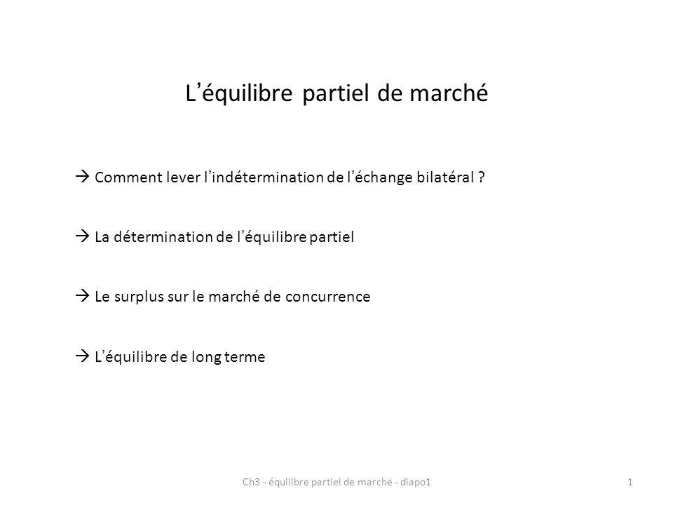 Léquilibre partiel de marché Comment lever lindétermination de léchange bilatéral ? La détermination de léquilibre partiel Le surplus sur le marché de