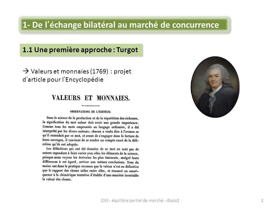 2 Valeurs et monnaies (1769) : projet darticle pour lEncyclopédie 1- De léchange bilatéral au marché de concurrence 1.1 Une première approche : Turgot