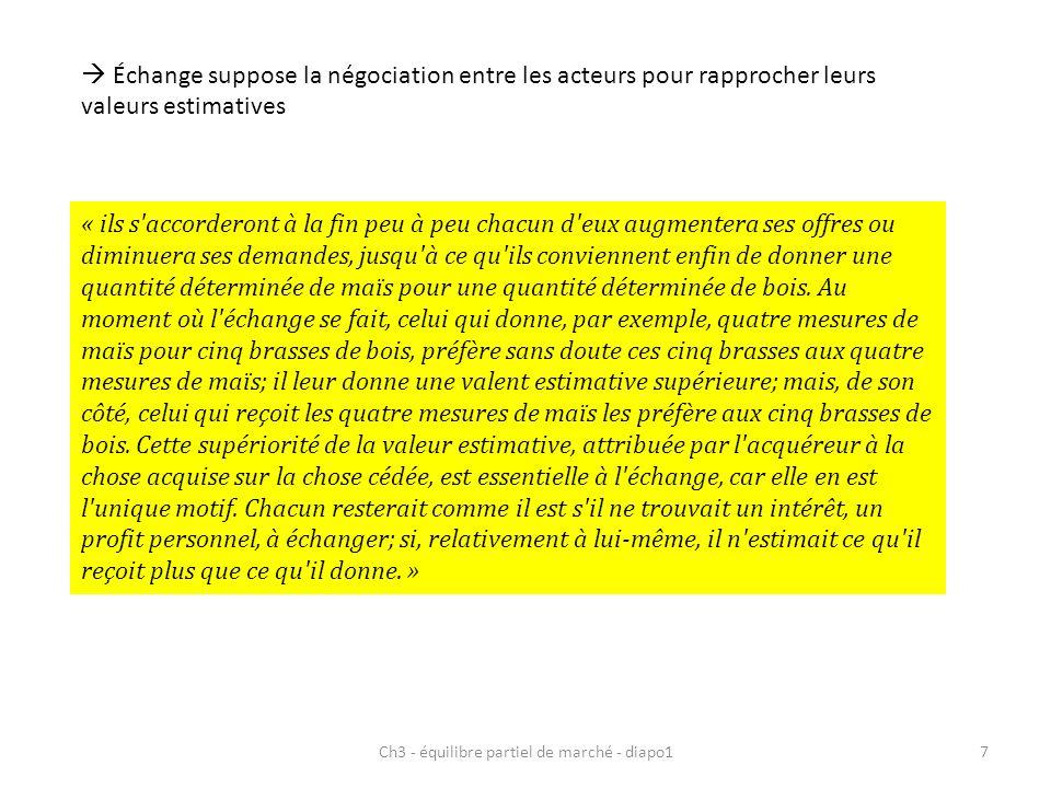 Ch3 - équilibre partiel de marché - diapo17 Échange suppose la négociation entre les acteurs pour rapprocher leurs valeurs estimatives « ils s'accorde