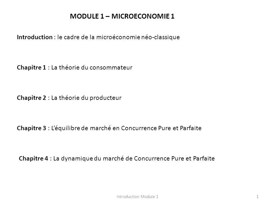 Introduction Module 11 MODULE 1 – MICROECONOMIE 1 Introduction : le cadre de la microéconomie néo-classique Chapitre 1 : La théorie du consommateur Chapitre 2 : La théorie du producteur Chapitre 3 : Léquilibre de marché en Concurrence Pure et Parfaite Chapitre 4 : La dynamique du marché de Concurrence Pure et Parfaite