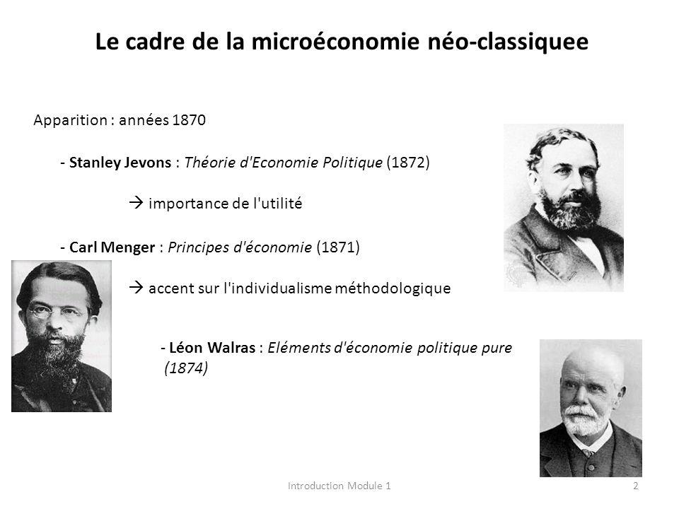 Le cadre de la microéconomie néo-classiquee Apparition : années 1870 - Stanley Jevons : Théorie d'Economie Politique (1872) importance de l'utilité -
