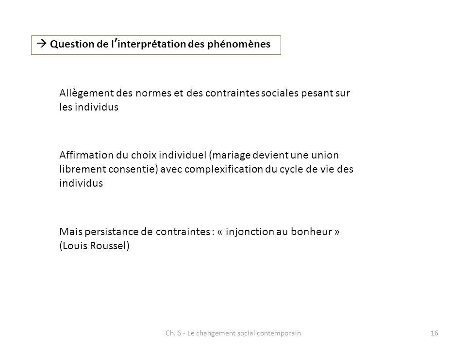 Ch. 6 - Le changement social contemporain16 Question de linterprétation des phénomènes Allègement des normes et des contraintes sociales pesant sur le