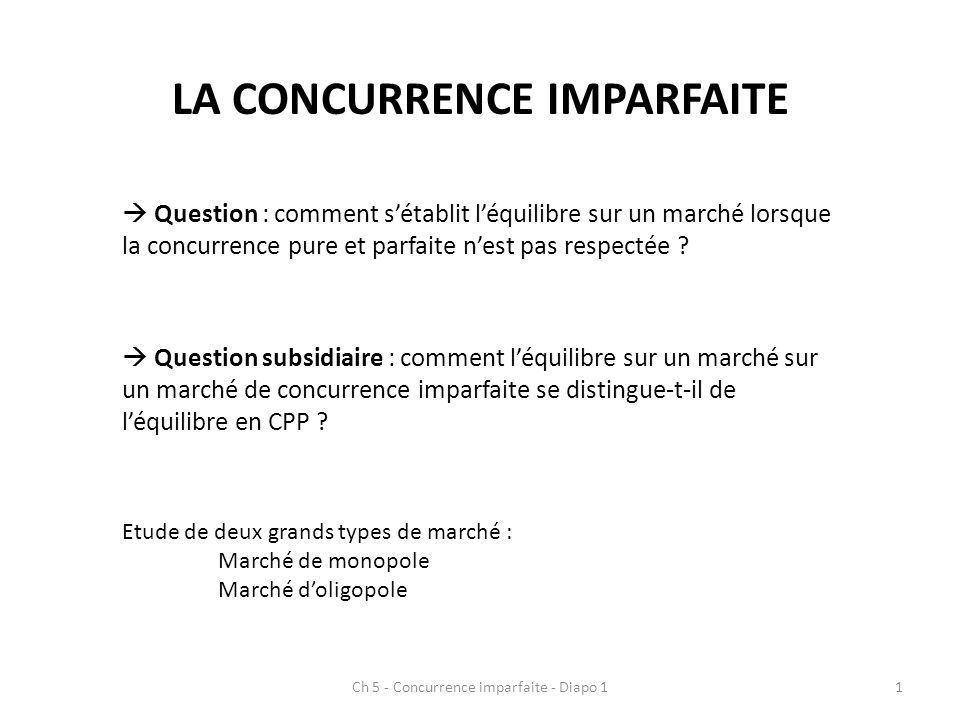 LA CONCURRENCE IMPARFAITE Question : comment sétablit léquilibre sur un marché lorsque la concurrence pure et parfaite nest pas respectée ? Question s