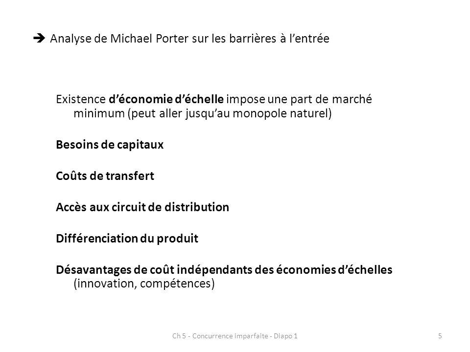 Ch 5 - Concurrence imparfaite - Diapo 15 Analyse de Michael Porter sur les barrières à lentrée Existence déconomie déchelle impose une part de marché