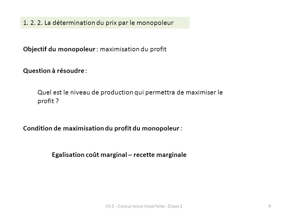Ch 5 - Concurrence imparfaite - Diapo 19 1. 2. 2. La détermination du prix par le monopoleur Objectif du monopoleur : maximisation du profit Question