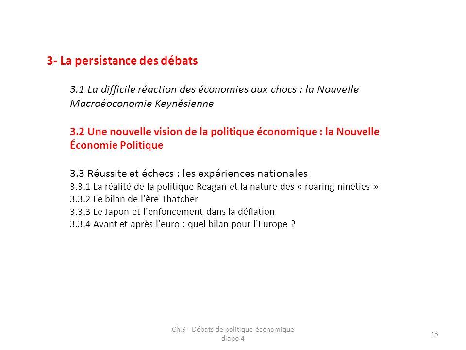 3- La persistance des débats 3.1 La difficile réaction des économies aux chocs : la Nouvelle Macroéoconomie Keynésienne 3.2 Une nouvelle vision de la