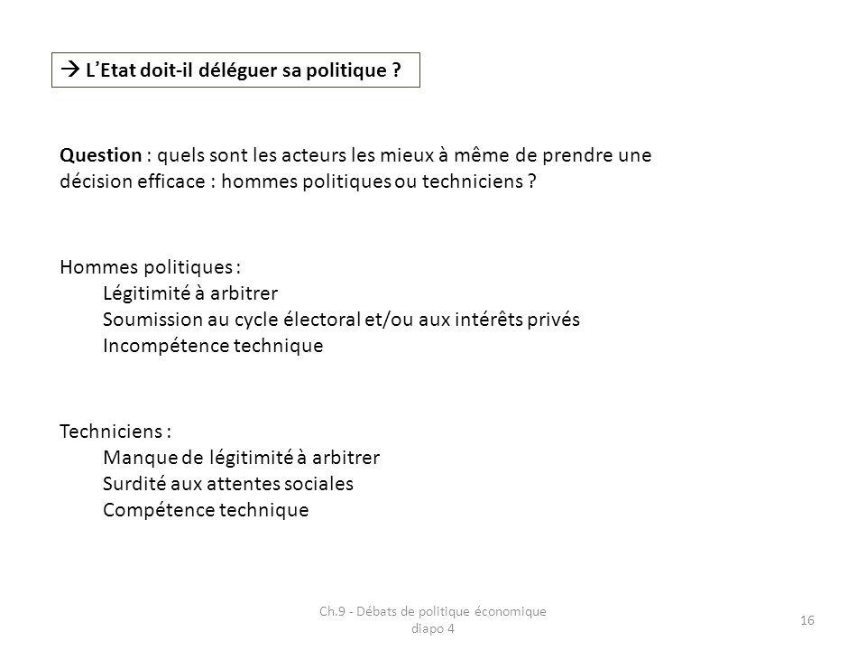 Ch.9 - Débats de politique économique diapo 4 16 LEtat doit-il déléguer sa politique ? Question : quels sont les acteurs les mieux à même de prendre u