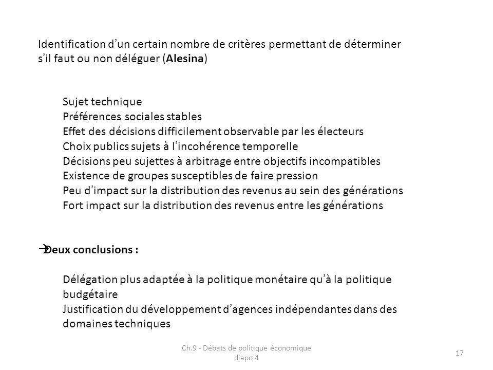 Ch.9 - Débats de politique économique diapo 4 17 Identification dun certain nombre de critères permettant de déterminer sil faut ou non déléguer (Ales