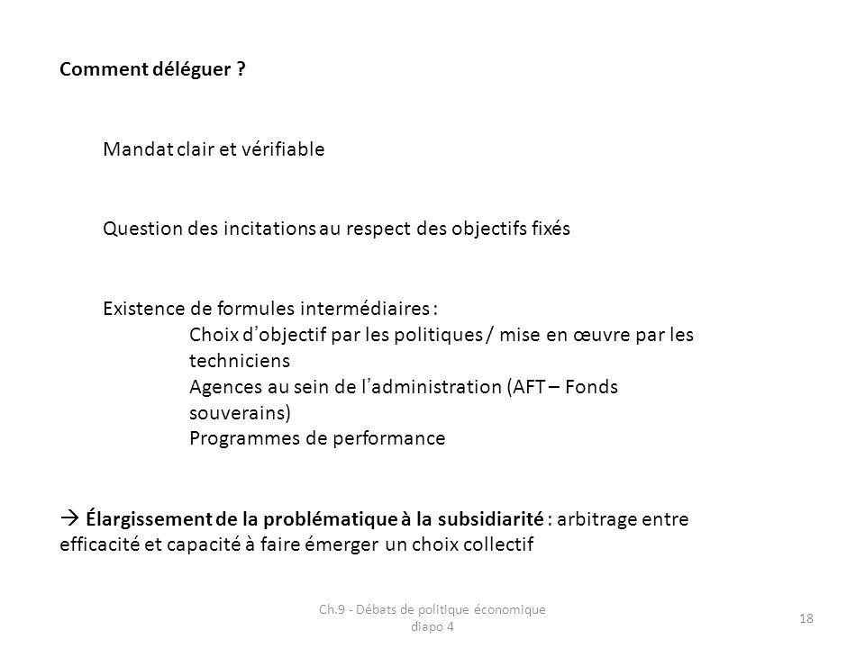Ch.9 - Débats de politique économique diapo 4 18 Comment déléguer ? Mandat clair et vérifiable Question des incitations au respect des objectifs fixés