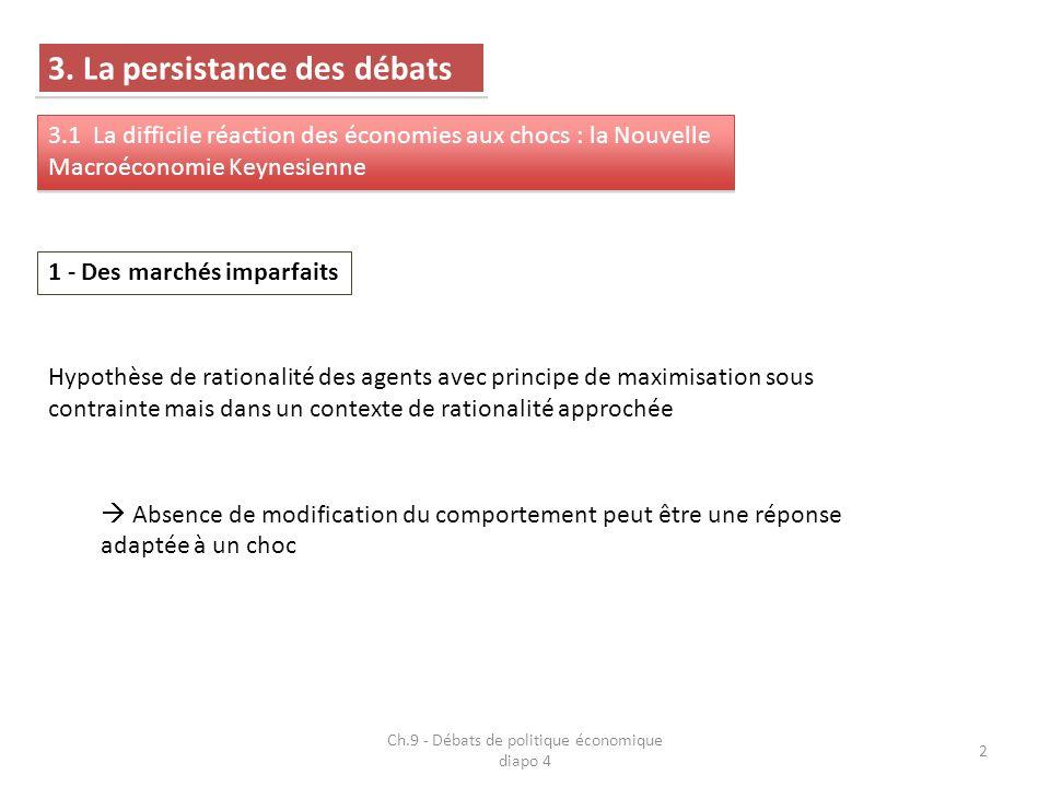 Ch.9 - Débats de politique économique diapo 4 3 3 imperfections majeures : Économie dincertitude (information est coûteuse) Concurrence imparfaite sur les marchés (oligopoles, voire monopoles) Marchés incomplets (existence de blocages dans les mécanismes dajustement vers léquilibre) Possibilité déchanges en dehors de léquilibre Divergences (monnaie, ajustements marchands) et points communs (rationalité) avec la NMC Importance des externalités macroéconomiques et des difficultés dajustement des agents